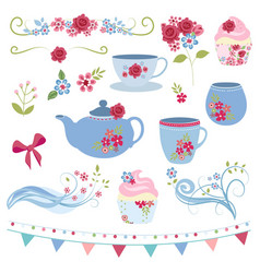 Floral tea party vector