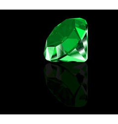 Green diamond on black background vector image vector image