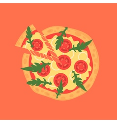 Hot pizza slice with melting cheese of margherita vector