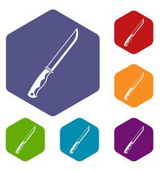 Knife icons set hexagon vector