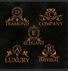 Luxury emblem monogram elegant golden calligraphic vector