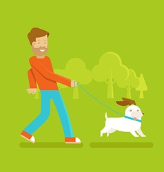 Man with a dog vector image