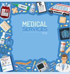 Medical services banner and frame vector