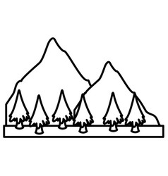 mountains and tree landscape vector image