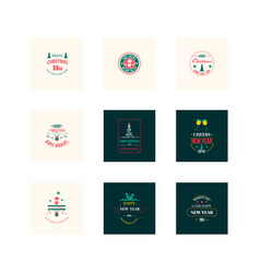 New year christmas label vector