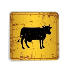 Old skratched yellow road sign with cow silhouette vector