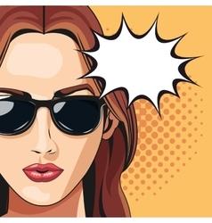 pop art woman sunglasses bubble speech dotted vector image