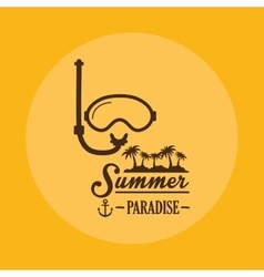 Poster summer paradise snorkel mask yellow vector