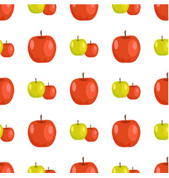 Red and green apples seamless pattern tasty fruits vector