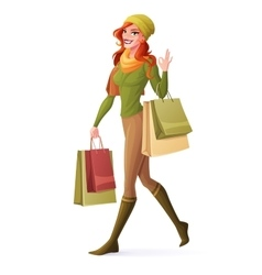 Redhead woman walking with shopping bags vector