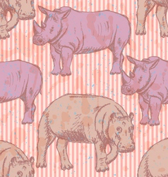 Rhino Hippo vector image vector image