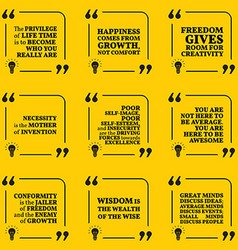 Set of motivational quotes about happiness growth vector