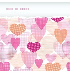 Textured fabric hearts torn horizontal seamless vector image vector image
