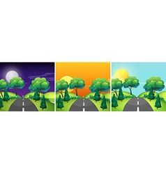 Three scenes of countryside at different time of vector image