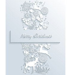 White Merry Christmas 3d white decoration greeting vector image