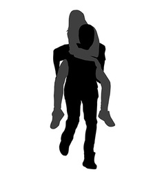 Young male carrying his girlfriend piggyback vector image vector image