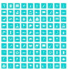 100 exotic animals icons set grunge blue vector image