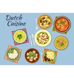 Dishes of dutch cuisine menu vector