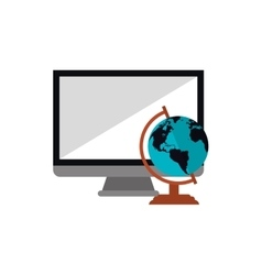 Computer and earth globe icon vector