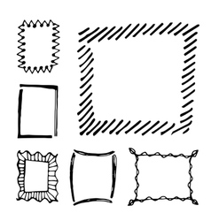 Hand drawn rectangle frames set vector