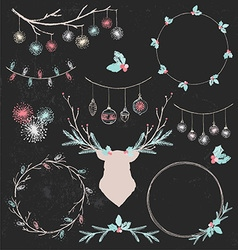 Christmas Deer and Wreaths Chalk Drawing Set vector image
