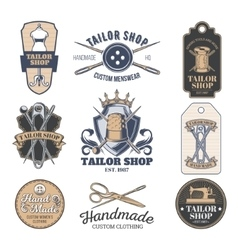 Set of tailor emblem signage vector