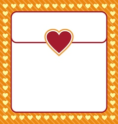 Frame shaped from yellow heart on orange vector