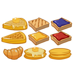 different types of bread for breakfast vector image