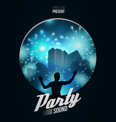 Party dance poster background template with dj vector