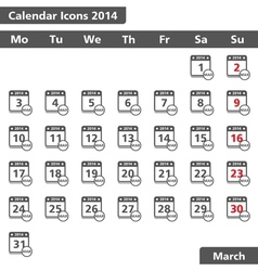 March 2014 calendar icons vector