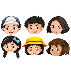 six different faces of children vector image