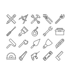 mechanical tools line icons vector image