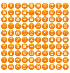 100 department icons set orange vector