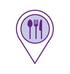 pin location with cutlery kitchen vector image