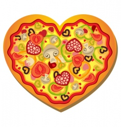 Heart shaped pizza vector