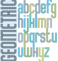 Retro colorful font with repeated lines geometric vector