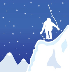 Skiing and jupm man in winter vector