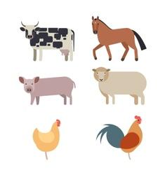 Farm animals set in flat style vector