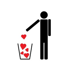 Man throws out a few red hearts in the trash vector