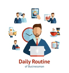 Businessman daily routine concept poster vector
