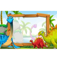 Dinosaurs around the wooden frame vector