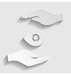 Eye sign paper style icon vector