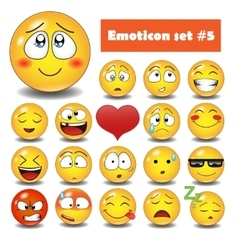 Emotional face icons vector