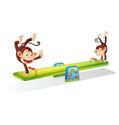 Monkeys on a seesaw vector image