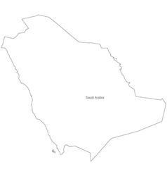 Black White Saudi Arabia Outline Map vector image