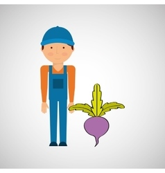Farmer with vegetable isolated icon design vector