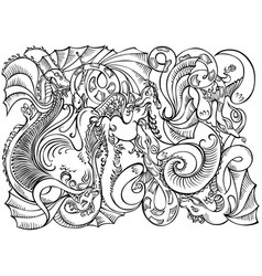 abstract decoration motif dragons black white vector image vector image