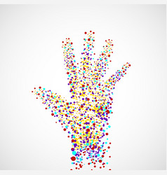 Abstract hand of man with dots vector