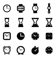 black clock icon set vector image