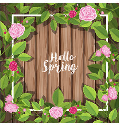Border template with roses on wooden wall vector